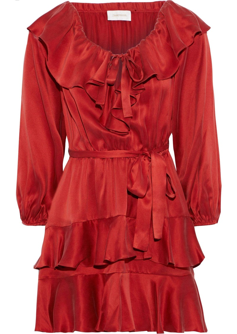 Zimmermann Woman Off-the-shoulder Tiered Ruffled Silk-satin Mini Dress Brick