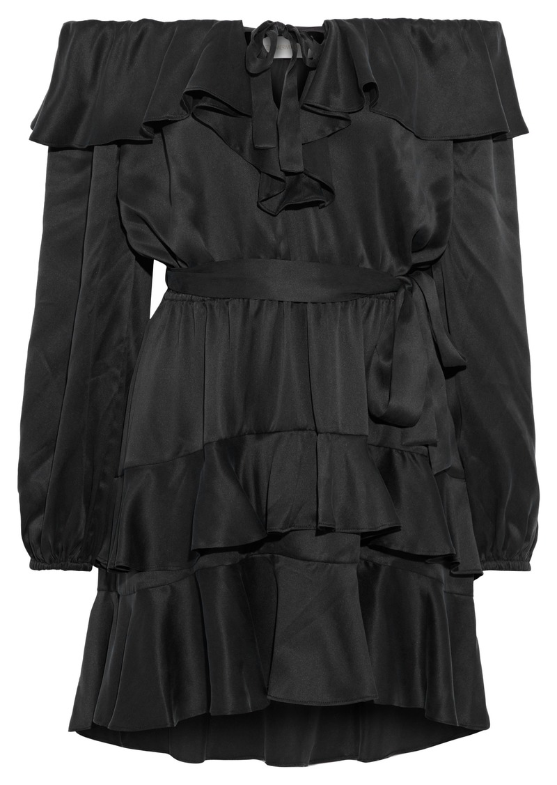 Zimmermann Woman Off-the-shoulder Tiered Ruffled Silk-satin Mini Dress Black