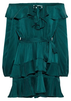 Zimmermann Woman Off-the-shoulder Tiered Ruffled Silk-satin Mini Dress Forest Green