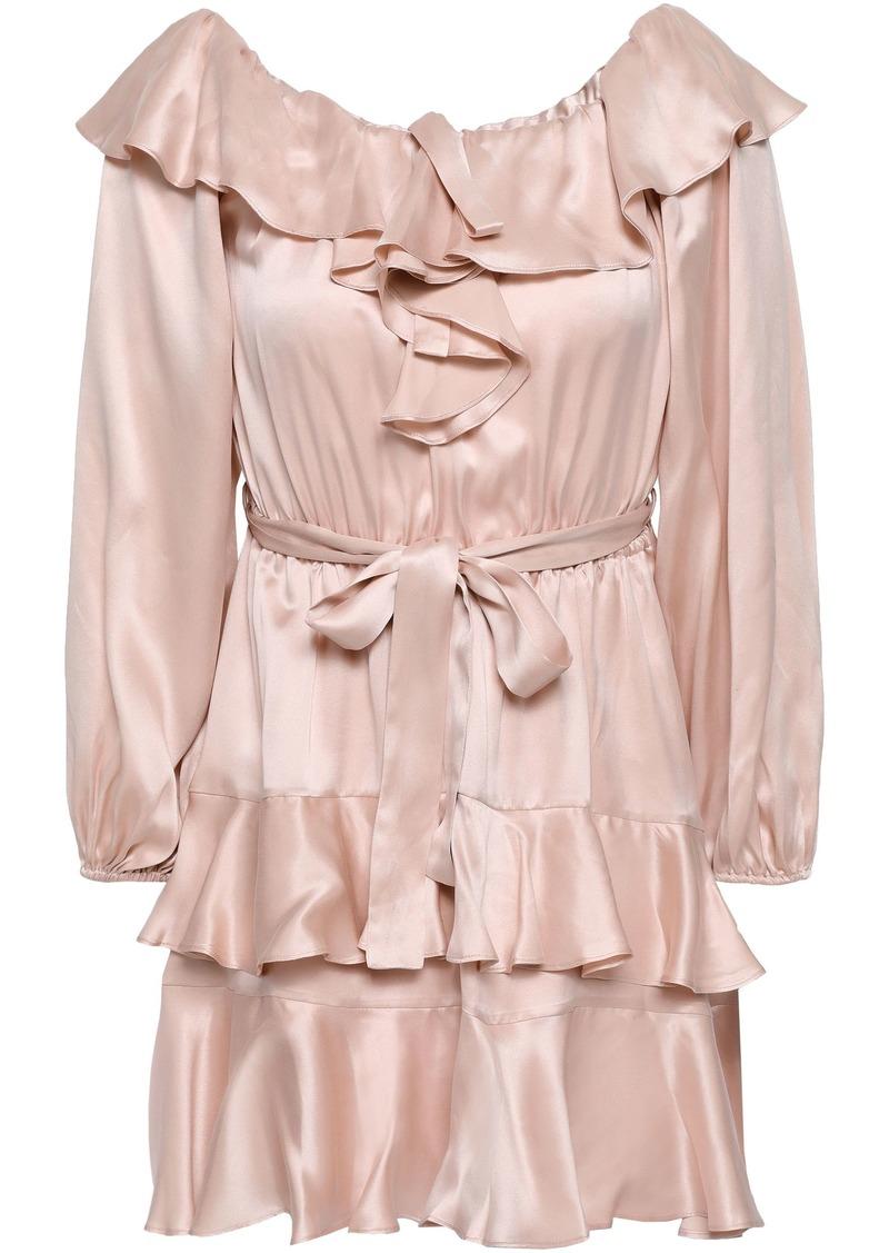 Zimmermann Woman Off-the-shoulder Tiered Ruffled Silk-satin Mini Dress Rose Gold