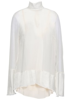 Zimmermann Woman Twill-paneled Silk-georgette Blouse Ivory