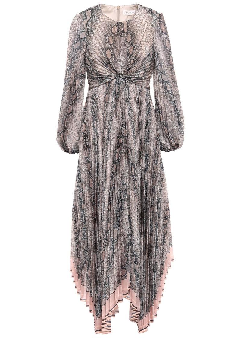 Zimmermann Woman Twisted Pleated Floral-print Organza Maxi Dress Animal Print