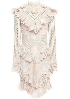 Zimmermann Woman Unbridled Battenburg Ruffled Ramie-blend Macramé Lace Mini Dress Cream