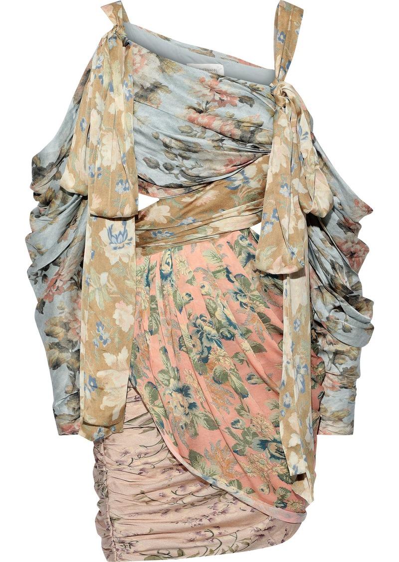 Zimmermann Woman Unbridled Elixir Cold-shoulder Cutout Floral-print Silk-satin Mini Dress Multicolor