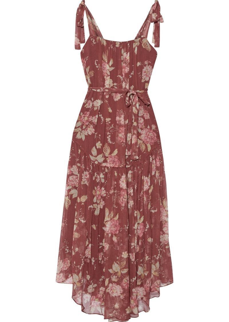 Zimmermann Woman Unbridled Gathered Floral-print Silk-georgette Midi Dress Burgundy