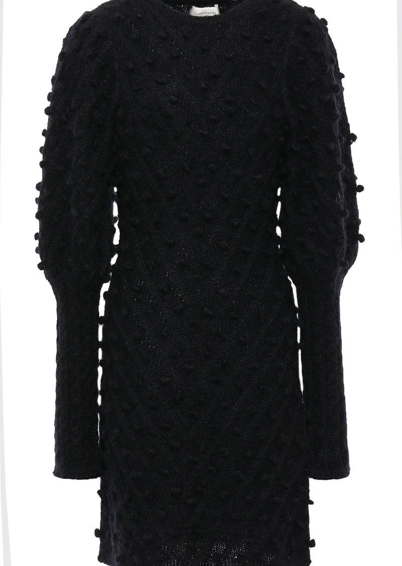 Zimmermann Woman Unbridled Pompom-embellished Knitted Mini Dress Black