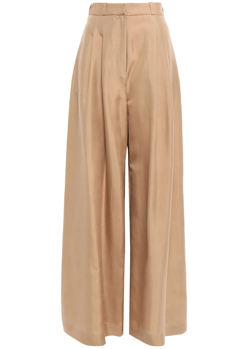 Zimmermann Woman Pleated Silk Wide-leg Pants Sand