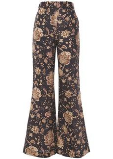 Zimmermann Woman Veneto Printed Linen Flared Pants Dark Brown