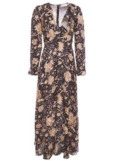 Zimmermann Woman Veneto Ruffle-trimmed Floral-print Linen Maxi Dress Dark Brown