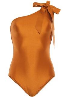 Zimmermann Woman Veneto Tie One-shoulder Metallic Swimsuit Copper