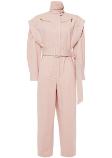 Zimmermann Woman Wavelength Belted Cotton-blend Twill Jumpsuit Pastel Pink