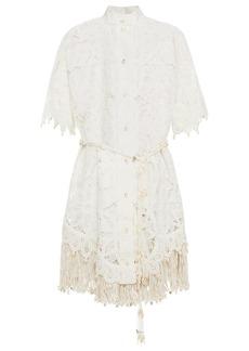 Zimmermann Woman Wavelength Belted Fringe-trimmed Silk Macramé Lace Mini Dress Off-white