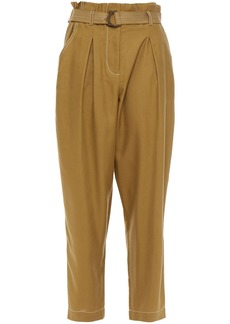 Zimmermann Woman Wavelength Belted Pleated Silk-broadcloth Tapered Pants Sage Green