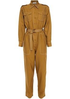 Zimmermann Woman Wavelength Belted Silk-broadcloth Jumpsuit Sage Green