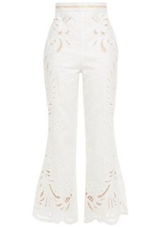 Zimmermann Woman Wavelength Broderie Anglaise Linen Kick-flare Pants Off-white