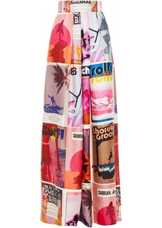 Zimmermann Woman Wavelength Pleated Printed Silk-twill Wide-leg Pants Multicolor