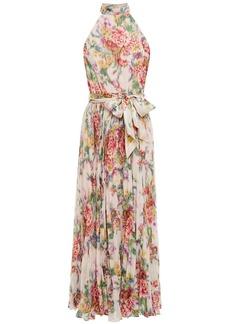 Zimmermann Woman Wavelength Sunday Pleated Floral-print Chiffon Midi Dress Blush