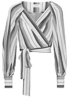 Zimmermann Woman Whitewave Chevron Cropped Striped Silk Crepe De Chine Wrap Top White