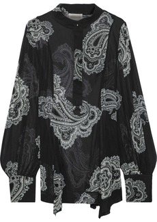 Zimmermann Woman Whitewave Fluted Printed Georgette Blouse Black