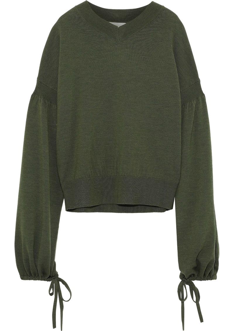 Zimmermann Woman Whitewave Louch Merino Wool Sweater Army Green