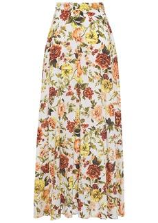 Zimmermann Woman Zippy Basque Floral-print Silk-blend Maxi Skirt Ivory