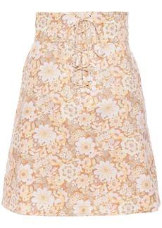 Zimmermann Woman Zippy Lace-up Floral-print Linen Mini Skirt Beige