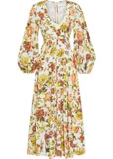 Zimmermann Woman Zippy Plunge Floral-print Silk-blend Crepe De Chine Midi Dress White