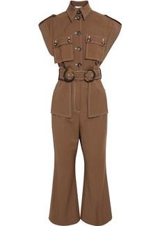 Zimmermann Woman Zippy Safari Cropped Belted Wool Jumpsuit Brown