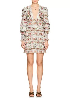 Zimmermann Women's Billows Embellished Floral Linen-Silk Minidress