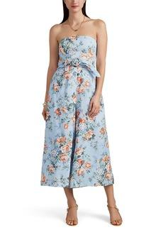 Zimmermann Women's Bowie Floral Linen Strapless Jumpsuit
