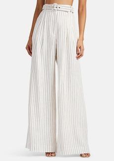 Zimmermann Women's Corsage Striped Slub Linen Belted Trousers