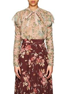 Zimmermann Women's Floral Silk Tieneck Blouse