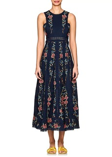 Zimmermann Women's Laelia Floral Cross-Stitched Linen-Cotton Dress