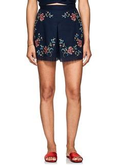 Zimmermann Women's Laelia Floral Cross-Stitched Linen-Cotton Shorts