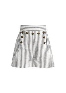 Zimmermann Zephyr striped cotton and linen-blend shorts