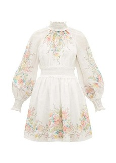 Zimmermann Zinnia floral-print shirred ramie dress