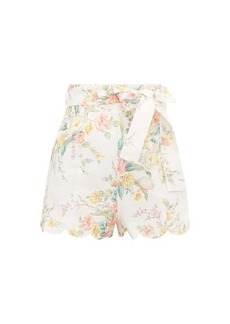 Zimmermann Zinnia scalloped floral-print linen shorts
