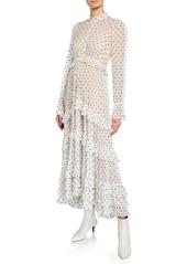 Zimmermann Zippy Polka-Dot Mock-Neck Long-Sleeve Tiered Gathered Frill Dress