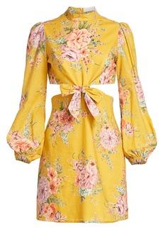 Zimmermann Zinnia Cutout Linen Mini Puff-Sleeve Dress