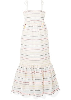 Zimmermann Zinnia Embroidered Cotton-voile Midi Dress
