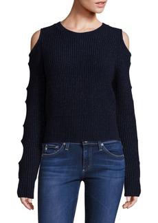 Zoë Jordan Galen Lurex Cold-Shoulder Sweater