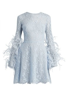 Zuhair Murad Cadix Feather-Trimmed Lace Mini Dress