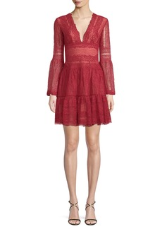Zuhair Murad Deep-V Bell-Sleeve Lace Cocktail Dress