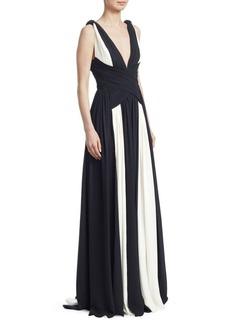 Zuhair Murad Draped Silk Georgette Gown