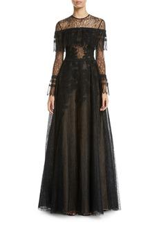 Zuhair Murad Edwardian Lace Long-Sleeve Gown