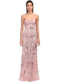 Zuhair Murad Embellished Lace Strapless Mermaid Dress