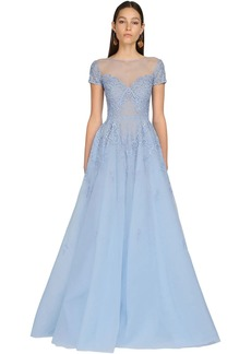 Zuhair Murad Embroidered Tulle & Lace Long Dress