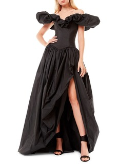 Zuhair Murad Off-The-Shoulder Ruffle Taffeta Slit Gown