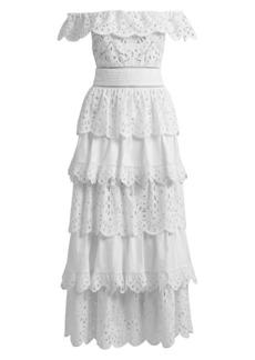 Zuhair Murad Pedro Tiered Cotton Ruffle Dress