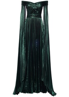 Zuhair Murad Pleated Lurex Long Dress